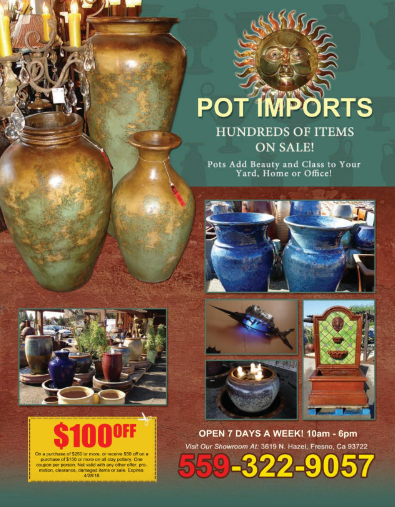 Pot imports will beautify your home or backyard for Bakersfield home magazine